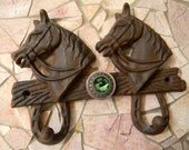 Cast Iron Animal Double Wall Hook, Western Horse Lucky Horseshoe, Green Rhinestone Concho, Rustic Wall Decor Rack, Silver Concho Horse Head