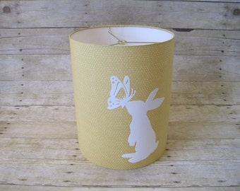 Lamp Shade Bunny Rabbit Drum Lampshade in Yellow Gold and White