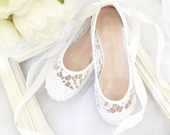 White Crochet GIRLS SHOES -Flower Girl Shoes - Lace up Ballet Flats