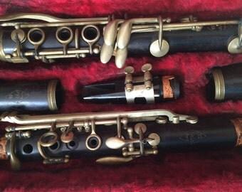 Wooden Bb Clarinet, Noblet Clarinet Made in Paris France, Rare Vintage Clarinet