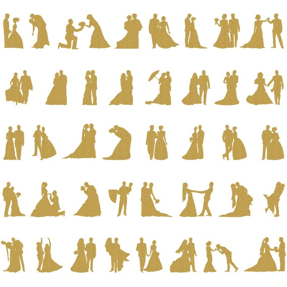 WEDDING SILHOUETTES Gold Wedding Glitter Clipart Clip Art Bride Groom Digital Bridal
