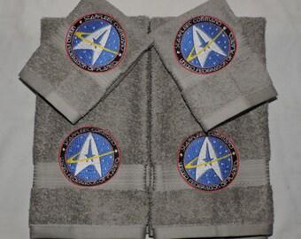 MTO Star Trek Hand Towel & Washcloth Set Geekery Nerdy Starfleet Command Christmas gift for her him custom made to order