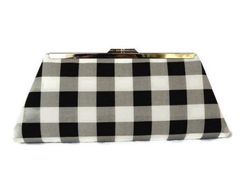 Black & white checkered wedding clutch purse/ Black white  evening purse/Custom made wedding purse/ Bridesmaids gift purse idea/Gift for her