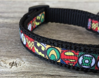 "Superhero Dog Collar. 5/8"" wide, available in S, M, L"