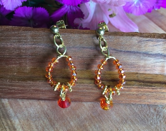 Earrings, Post Earrings, Tangerine Fire polished beads, Tangerine Swarovski Drop Crystals, Gold Tone, Free Shipping, USA! #92