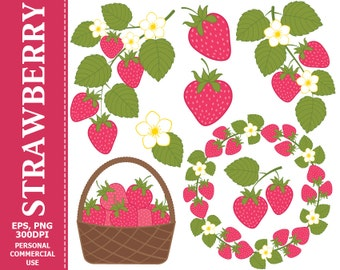 BUY 1 GET 1 FREE - Digital Strawberry Clip Art - Leaves, Branch, Pink, Wreath, Berry, Strawberry Clip art. Commercial and Personal use