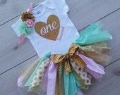 Personalized Tutu Set 1st Birthday - First Birthday Tutu - Mint and Gold Tutu - Gold Glitter Bodysuit - Gold Glitter Baby Girl Tutu