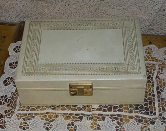 Vintage Pretty Gold and White  Jewelry  Box  Cottage Chic :)