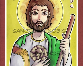 Saint Jude Catholic Art Print Icon, Saint Iconography, Confirmation Gift, Religious Art