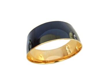 J. Crew Black Ebony Bangle Bracelet, Vintage Enamel and Gold Plate, Casual Elegant Jewelry