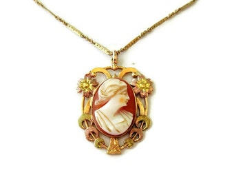"""Art Deco Gold Cameo Necklace, 10k Gold, Edwardian Gold Chain 18"""", Carved Shell Cameo"""