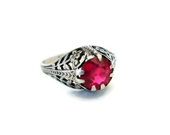 Art Deco Ring, Sterling Silver, 1920's Floral Pink Quartz Ring, Size 5.25, Engagement Ring