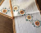 Linen Table Runner Sunflower Embroidery, Yellow Orange Flower Motif Vintage Retro Textiles