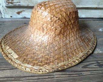 Chinese Rattan Straw Hat, Rickshaw Hat, Garden Sun Hat