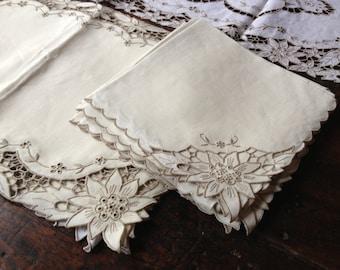 Heirloom Poinsettia Table Linens, Ecru Linen Table Runner Placemats Dinner Napkin Set, Cutwork Embroidery Linen, Decorative Table Linens
