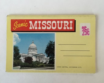 MISSOURI Souvenir Folder / Vintage Missouri Souvenir Booklet unused by J. E. Tetirick Kansas City, Mo. Good condition