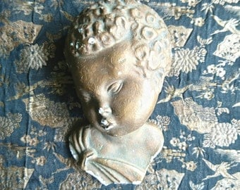 Cherub's Head 1920s, Mythological, Gold Painted, Plaster, Distressed - Vintage/Antique Original Plaster Head, Cherub/Angel
