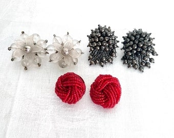 Vintage Clip-on Earrings, 3 Pairs, 1950s - Vintage Earrings, Lucite, Beads, Clear, Grey, Red