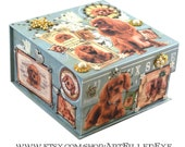Blue Embellished Decorative Box Decoupaged Ruby Red King Charles Cavalier Spaniels-Trinket-Storage-Jewelry-Keepsake-Art-Artwork-Gift-Custom