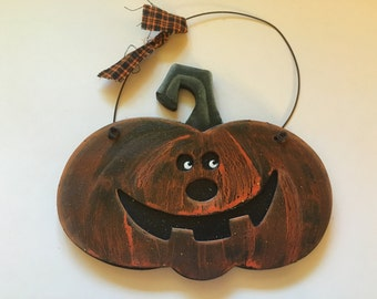 wood pumpkin decor, 120 x 150 mm (HR51)