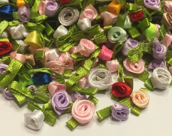 20 piece fabric rosebud mix, 8 mm (AA3)
