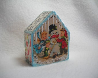 Christmas decoration art wooden house vintage images decoration mixed media art and collectible wooden village
