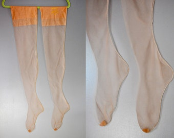 Vintage 40s 50s Seamed Nylon Stockings 4 Pairs Thigh High Nylons Pinup Rockabilly Deadstock Sheer Tan Neutral size 8.5 - 8 1/2 - 9
