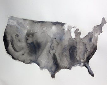Watercolor United States Map