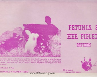 Petunia and Her Piglets Pattern - Vintage Pattern for Stuffed Pig and Piglets Toys - R Helwig