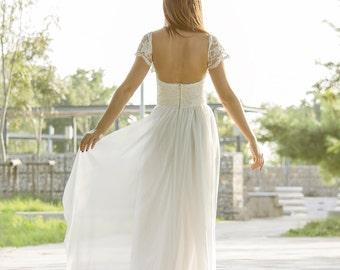 Wedding Dress, Grecian Wedding Gown, Long Bridal Dress, Lace Ivory Gown, Ivory Wedding Dress, Open Back Dress, Handmade by SuzannaM Designs
