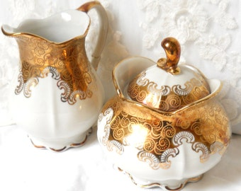 vintage cream set german porcelain porcelain creamer vintage gold sugar bowl shabby chic