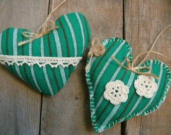 Rustic Country Home Decor, Primitive heart decoration, cottage style green heart, Lake House Decor, fabric heart, Nursery Kids' Room Decor