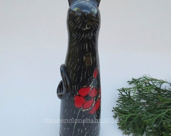Black Cat Sculpture, Ceramic Stoneware, Ready to Ship, Made in USA