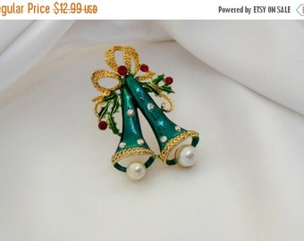 Holiday Sale Vintage Brooch Christmas Bells with Pearls and Rhinestones