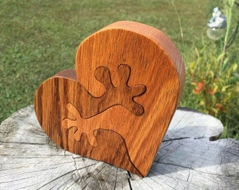 Wooden Puzzles Oak Couple Wooden Heart Hands Puzzle Custom Wedding Decor Personalized Heart Wedding Decoration Bride Groom Couple Gift