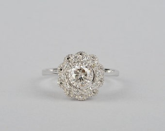 Charming vintage diamond flower ring .70 Ct solitaire diamond