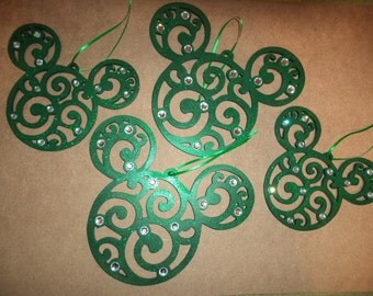 Set of 4 Green Mickey Mouse Icon Ornaments
