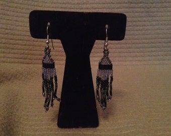 Vintage Black Irridesent Dangle Beaded Earrings, 2'' Long