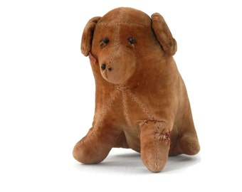 Antique Brown Velveteen Dog Toy or Pin Cushion Well Loved
