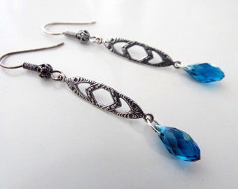 Art Deco Blue Faceted Crystal Earrings Antique Silver