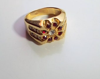 Mens Vintage Garnet and Rhinestone Gold Plated Ring Size 9.5