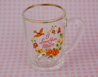 Shot Glass Mini Style Tankard Glass Drinking Glass with Handle I love You Mum Printed Flowers