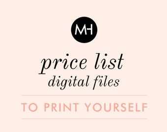 Price List or Service Menu - DIY / PRINTABLE File - Select Any Design or Select a Custom Design