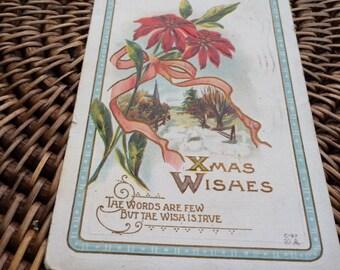 Vintage Christmas Postcard, Poinsettia, X Mas Wishes