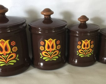 Set of 4 Vintage West Bend Aluminum Canisters Brown Tulip Floral Orange Yellow Mid-Century