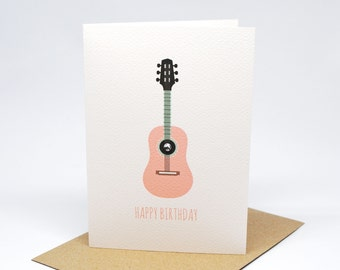 Birthday Card Girl - Dusty Pink Guitar - HBC206 / Happy Birthday for the Birthday Girl
