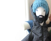 RESERVED for Michelle - Backpacker art doll Fulano, ooak bearded traveler man doll, retro hiking stuffed doll, Featured in STUFFED magazine