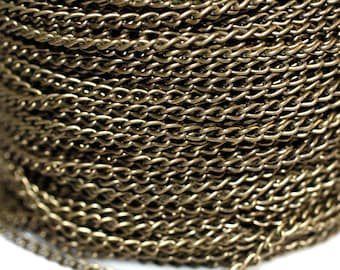 15ft Antique Brass Finished Curb Chain - 4x2.3mm-unsoldered