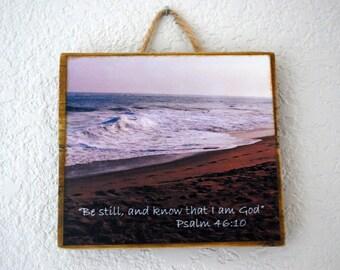wooden photo plaque, beach scripture photo