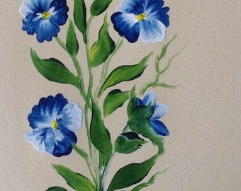 Hand Painted Blue Pansy  Greeting Card